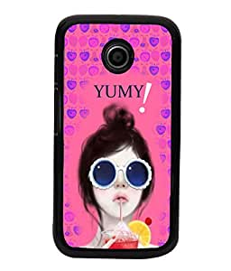 Fuson Pink Blue Fruit Pattern Girl Back Case Cover for MOTOROLA MOTO E - D3908