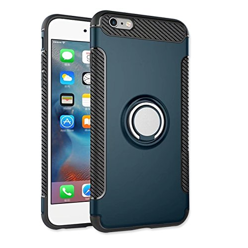 iPhone 6S Plus Hülle, iPhone 6 Plus Schutzhülle 360° Kickstand Magnetic Premium Silicone Bumper Case, Silikon TPU + PC Farbschichtschutz Handyhülle mit 360° Drehbarem Metallhalter, Tasche mit Grip Rin Dunkelgrün