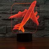 XIAOXINYUAN Kreative 3D Flugzeuge Bunte Touch Control LED Nachttischlampe USB Schlaf Nachtlicht Paar Geschenk Hause Festival Decor