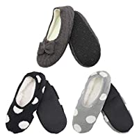 Adult Super Soft Warm Cozy Fuzzy Indoor Home Travel Slippers Non-Slip Lined Socks, Assortment 24, Medium, 3 Pairs