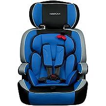 XOMAX XM-K4 + Seggiolino per auto + Adatto per i bambini tra 1 e 12 anni di età e di peso 9-36 kg + testato e approvato in ECE R 44/04 Gruppo 1/2/3 + colore blu / nero / grigio + Cintura di sicurezza a 5-punti + il poggiatesta è regolabile + sedile per la clase III + Lo schienale è