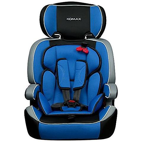XOMAX XM-K4 BLUE Kindersitz 9-36 kg, Gruppe I / II / III, ECE R44/04 geprüft, Farbe: Blau, Schwarz, Grau + mitwachsend + 5-Punkte-Sicherheitsgurt + Kopfstütze verstellbar + Rückenlehne abnehmbar / Bezüge abnehmbar &