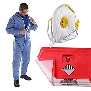 The Chemical Hut PPE Asbestos Removal Kit Pack - x1 XLarge Coverall, x5 Red & x5 Clear Waste Disposal Bags & x1 Fold Face Valved Mask