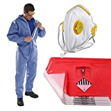 The Chemical Hut PPE Asbestos Removal Kit Pack - x1 XLarge Coverall, x5 Red & x5 Clear Waste Disposal Bags & x1 Fold Face Valved Mask by The Chemical Hut