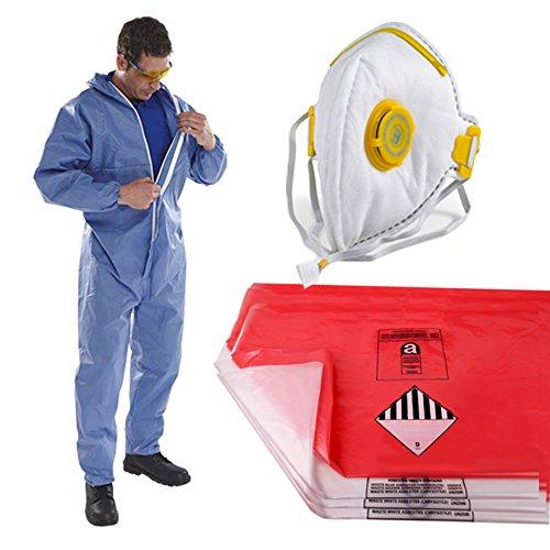 The Chemical Hut persönliche Schutzbekleidung, Asbest-Entfernungs-Set-1 x XL-Größe Overall, 10 xrote & 10 x transparente Abfallsäcke und 1 x faltbare Gesichtsmaske mit Ventil Big & Amp