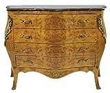 Casa Padrino Barock Kommode Ahornfarben mit grüner Marmorplatte - Ludwig XIV Empire Kommode