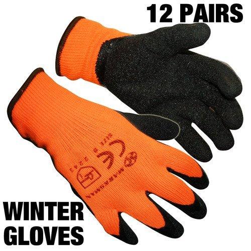 12pares HI VIZ constructores de látex guantes de trabajo tamaño 9/tamaño grande Unisex ideal para almacén/jardinería/entrega (el color puede variar–rojo o naranja) etc. por Guilty Gadgets