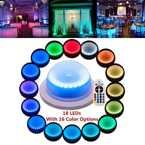 Veilleuses 2pcs télécommande LED sous la Table 16 Couleurs changent lumières de décoration de Mariage, pour Les Parties, événements, Anniversaires avec 18 LED.