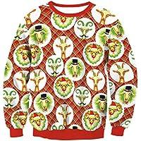 FOOBRTOPOO Novedad Navidad Mujeres Tops de Navidad Ovejas Impreso Cuello Redondo Deporte Sudadera Otoño Invierno Casual Manga Larga Jersey Jumper Blusa -S (Color : Red, tamaño : S)