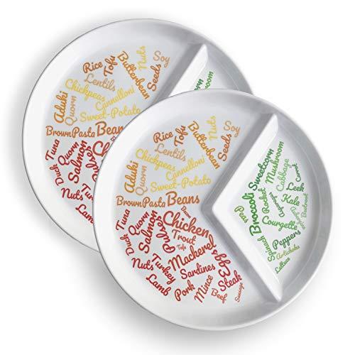 Geteilte Schlankheitsplatte für einfache Portionskontrolle (2) | Einfache Portionskontrolle und Ideen für eine nachhaltige Gewichtsabnahme Folgen Sie einer ausgewogenen Ernährung - Folgen Diät