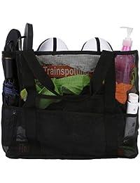 CHIC DIARY Mesh Beach Bag Travel Toy Tote Bag Grocery Shopping Storage Bag 8477f73912b16