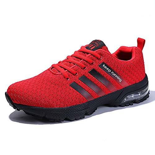 Men Women Casual Sports Running Shoes Air Trainers Jogging Fitness Flats Lightweight Gym Athletic Sneakers(B red42)