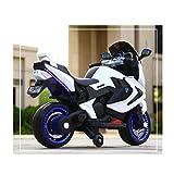 ADZPAB Kinder elektrisches Motorrad-Dreirad 2-3-5-8-jähriges männliches und weibliches Baby kann EIN Spielzeugauto reiten (Farbe : Weiß)