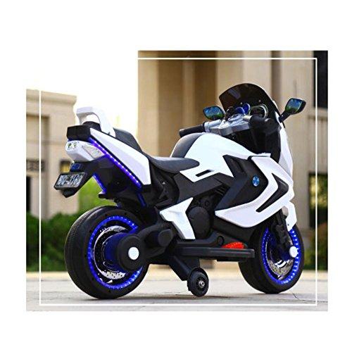 (ADZPAB Kinder elektrisches Motorrad-Dreirad 2-3-5-8-jähriges männliches und weibliches Baby kann EIN Spielzeugauto reiten (Farbe : Weiß))