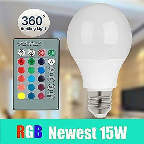 magicmoon Bombilla LED (E27, 15W, RGB 16Colores regulable Multi Color LED que cambia de color con mando a distancia por infrarrojos 360° ángulo de haz Lámpara LED 85–265V para decoración del hogar/bar/fiestas/KTV