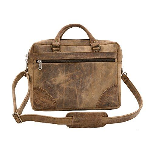 Craft Play Handicraft Rusty Brown color Leather Laptop Bag