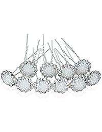 Zhenhui - 20 o 10ganchos de horquilla para el pelo en cristales plateados de latón para boda