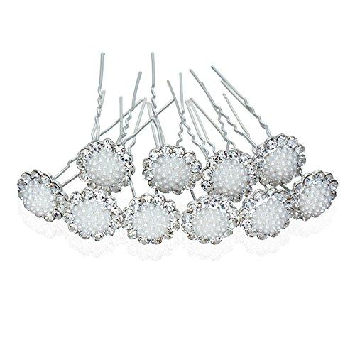 zhenhui 100Blume Kristall Haar Pin Clips High Quality Fashion Jewelry Silber Teller (Bun-haar-stifte)