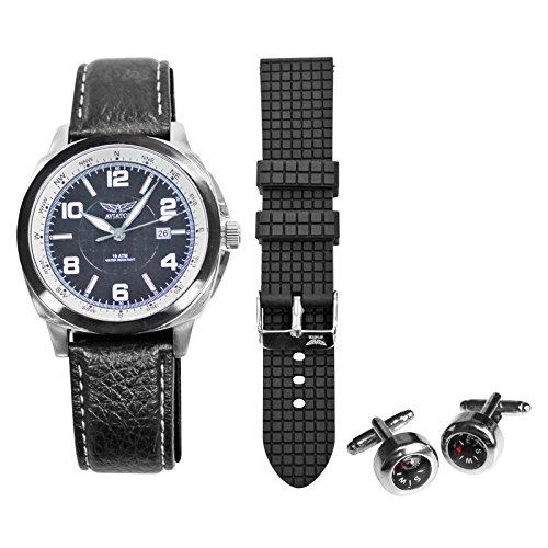 Aviator Piloten-Uhr und Manschetenknöpfe Geschenkset Männer