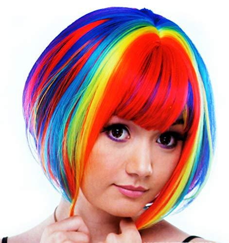Peluca Sintética para Disfraces Personajes Talla Única Modelo Bob Multicolor Mujer (51647)
