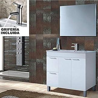 51QsFFGxYgL. SS324  - Hogar Decora Conjunto Mueble Baño Completo Oviedo con Lavabo de Metraquilato Blanco (No Clásica Cerámica)* + Espejo + Grifería Incluida