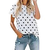 Fannyfuny Damen T-Shirt Sommer Basic Rundkragen Kurzarm Shirt Tops Casual Dot Punkt Oberteil Lose Elegant Bluse Tunika Sommershirt