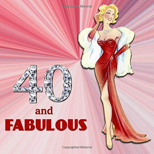40 and Fabulous: Retro Blonde Bombshell Design 40th Birthday Guest Book for Women - Red & Diamond Sign In Book - Vintage Style Fortieth Bday Party ... Name and Address - Square Size  8.25 x 8.25 (Vintage-40th Birthday Party)