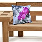 Outdoor Cushions Waterproof Canvas FILLED Cushions For Garden Furniture Chairs (TULIPS)
