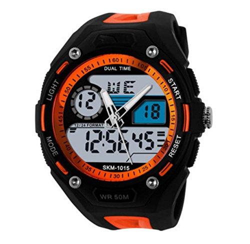 Männer Sport Digital Analog Stilvolle Uhr Im Freien Wasserdichte Dual Elektronische Quarzwerk Mit Hintergrundbeleuchtung,Orange (Herren-uhren Mit Gesicht Orange)