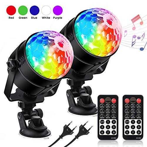 LED Discokugel Kinder Discolicht RGBWP Lichteffekt 360°Drehbares, Disco Ball 7 Farben, 8 Modi Led Partylicht mit Fernbedienung, Musik aktiviert...