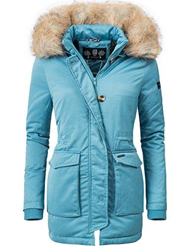 ed5eaa83290b17 Navahoo Damen Winter-Jacke Winter-Mantel Schneeengel (vegan hergestellt)  Hellblau Gr. XL