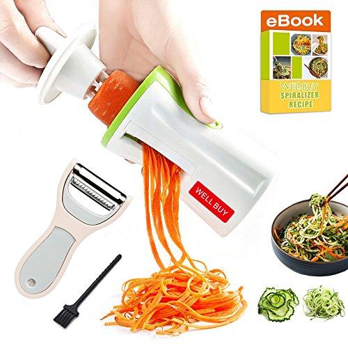 Spiralschneider Gemüse Hand für Gemüsespaghetti- Well Buy Zucchini Spiralizer 3-Klingen Gemüse Spargelschäler Gemüseschneider Zerkleinerer für Gemüse Pasta Spaghetti -Mit Spiralschneider Kochbuch & Spargelschäler Test