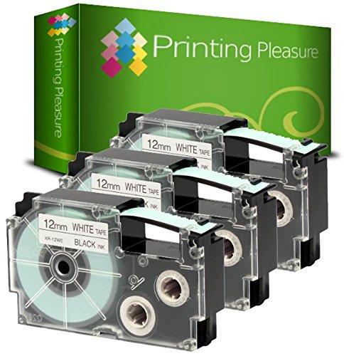 Printing Pleasure 3 x XR-12WE XR-12WE1 Nero su Bianco Nastro compatibile per CasioKL-60 KL-100 KL-120 KL-200 KL-300 KL-750 KL-780 KL-820 KL-2000 KL-7000 KL-7200 KL-8100 KL-8200 CW-L300   12mm x 8m