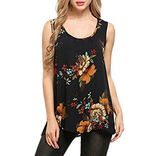 SANFASHION Débardeurs Femme, Amincissante Gilet Florale Impression rétro Col O Sport Loisirs Tops Simple Lâche Chic T-Shirt Basique (2XL, Orange)