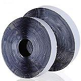 Blooven Velcro Adhesivo, 8M Auto Adhesivo Cinta Rollo Hook y Loop Tape Gancho y Cinta de Lazo (Negro)
