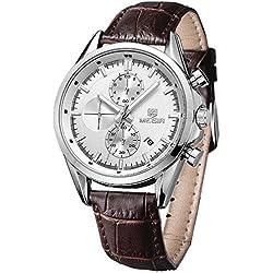 Megir-Reloj de cuarzo relojes Casual correa de piel marrón resistente al agua Cronógrafo Reloj de pulsera Relojes Hombre