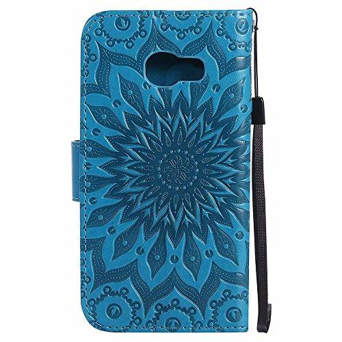 Custodia Galaxy A3 2017 - Dfly Premium PU Goffratura Mandala Design pelle Invisibile Forte chiusura magnetica Design Flip Cover, Per Samsung Galaxy A3 2017, Marrone Blu