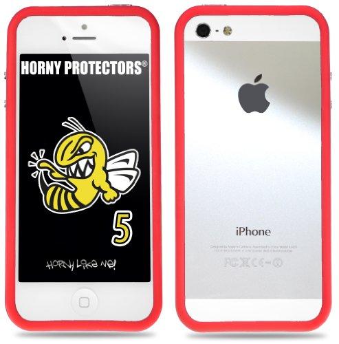 Horny Protectors Cover Case Bumper Schutzhülle für Apple iPhone 5 TPU Silikon lila/schwarz weiß - rot