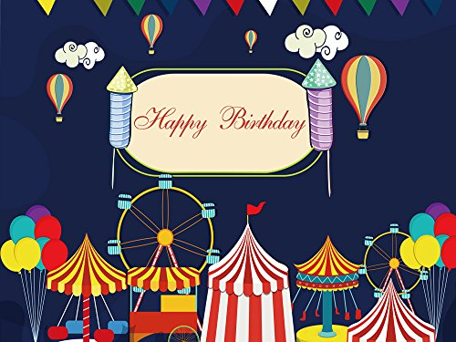 tergrund Circus Karneval Party Hintergrund Hot Air Ballon Riesenrad Baby Dusche Geburtstag Party Individuelle Decor Foto Booth Banner Studio Requisiten 200x 150cm w-308 (Individuelle Geburtstags-banner)