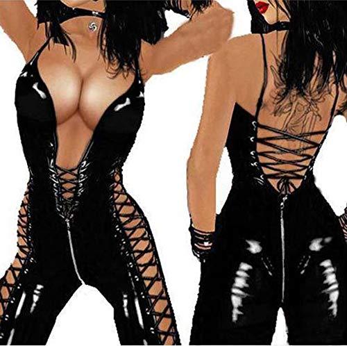 XSMG Damen Sexy Lackleder Catsuit Reißverschluss Jumpsuits Club Elastisches Bodysuit Bekleidung,Black,M