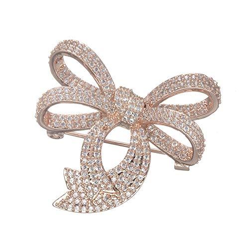 LXIANGP Brosche Schleife Form Diamanten besetzte Kupfer Schmuck Pin Frauen Wilde Geschenk Pin für Damen und Mädchen, Geschenk-Box