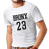 lepni.me Maglietta da Uomo Bronx 23 Freestyle, New York City, Abbigliamento Moda Stile Sportivo (X-Large Bianco Nero)