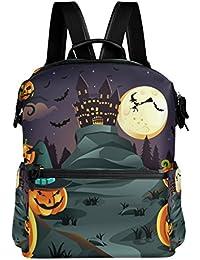 Preisvergleich für COOSUN Halloween Kürbisse Hintergrund Schule Rucksack-Spielraum-Rucksack Multi