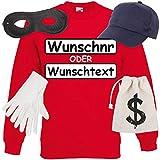 Shirt-Panda Unisex Sweatshirt Panzerknacker Kostüm + Cap + Maske + Handschuhe Verkleidung Karneval SET16 Sweater/WN/Cap/Maske/Handschuhe/Beutel XL
