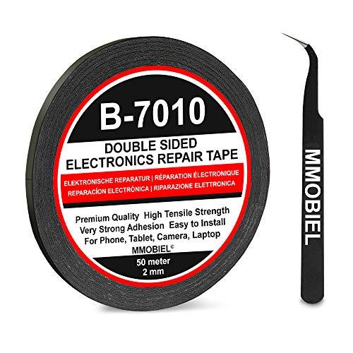 MMOBIEL 2 mm Doppeltseitiges Klebeband stark klebend Tape 50 m Rolle (Schwarz) für Smartphone Tablet Reparatur