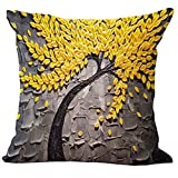 Bluelans® Oil Painting Large Tree and Flower Cotton Linen Throw Pillow Case Cushion Cover Home Sofa Decorative 18 x18 Inch (Yellow)