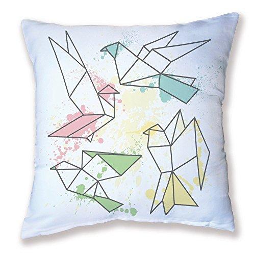 Coussin Décoration Oiseaux origami Pastel - Fabriqué en France - Chamalow Shop