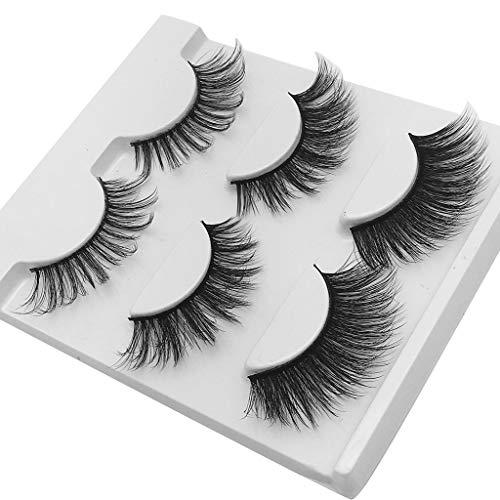 masrin Wimpern aus 3D-Schicht 3 Paar gemischte Stereopaare, die mit handgefertigten natürlichen Wimpern ausgestattet sind (schwarz)