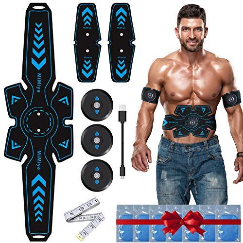 MiMiya Elettrostimolatore per Addominali, Elettrostimolatore Muscolare con USB Ricaricabile ABS Stimulator per Uomo/Donna Addome/Braccio/Allenamento Gambe, 14PCS Ricambio Gel Pezzi (7 Pacco)