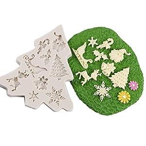 Hunpta@ MouldWeihnachten, Silikon-Weihnachtsbaum Santa Claus Elk Schlitten-Stock-Form-Schokoladen-Kuchen-Formen (K)
